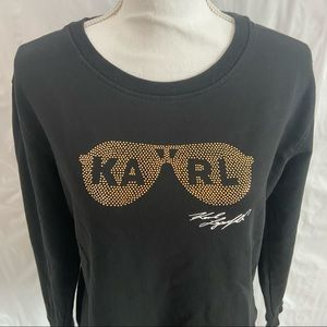 Karl Lagerfeld Black Gold Embellished Sweatshirt